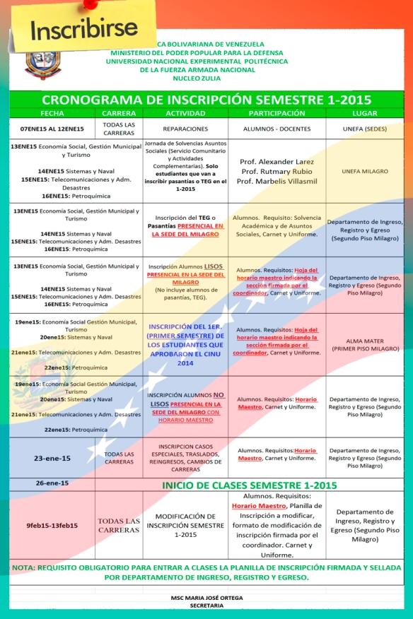 inscripcion semestre 1-2015